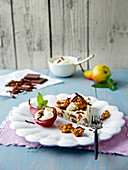 Caramelised walnuts with port wine pear and grilled tartlets