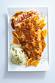 Spicy salmon fillet with an orange glaze