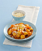 Potato gnocchi with onion sauce