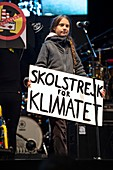 Greta Thunberg at climate change protest, Madrid, Spain, 201