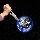Stabbing planet Earth