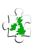 Jigsaw piece with map of Great Britain