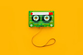 Audio cassette with tangled tape