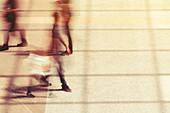 Commuters,motion blur effect