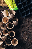 Peat pots and soil