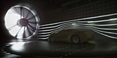 Car in wind tunnel,illustration