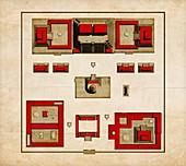 Map of the Aztecs' Sacred Precinct, Tenochtitlan