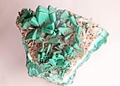 Baryte and malachite