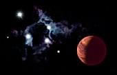 Brown dwarf and nebula, illustration