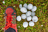 Large hailstones from a thunderstorm, France