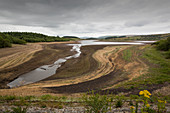 Stocks Reservoir, Lancashire, UK, in drought