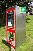 Defibrillator in phone box, UK