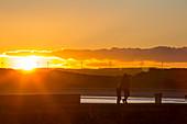 Beadnell beach, Northumberland, UK, at sunset