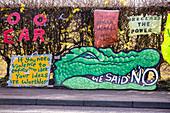 Protest signs at fracking site, Lancashire, UK