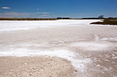Salt pans on the dry Lleida plains, Spain