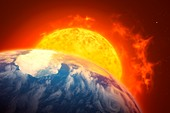 Red giant Sun and future Earth, illustration