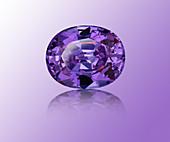 Oval cut purple sapphire gemstone