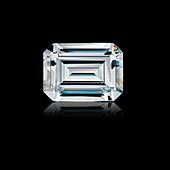 Emerald cut diamond gemstone