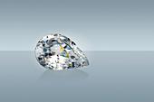 Pear cut diamond gemstone