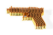 Bullets arranged in gun shape