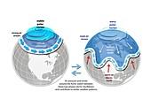 Polar vortex and jet stream, illustrations