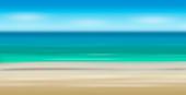 Sandy beach and horizon over sea