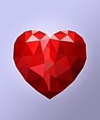 Red heart shape, illustration