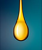 Droplet of golden liquid