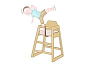 Child in high chair overbalancing, illustration