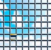 Single open window in tower block, illustration