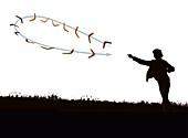 Boomerang flight mechanics, illustration