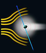 Comet bow wave, illustration