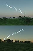 Comets at dusk and dawn, illustration