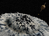 Saturn from its moon Hyperion, illustration