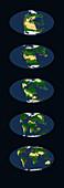 Pangaea break-up, global maps