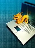 Chinese computer hacking, illustration