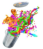 Pain splashing from bucket, illustration