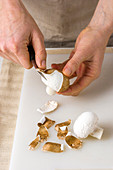 Mushrooms being peeled
