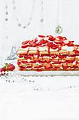 Strawberry shortcake fridge cake