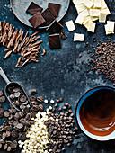 Schokoladenprodukte und Dekorationen