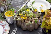 Tischdekoration mit Wiesenblumen