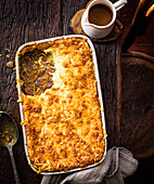 French onion and beef pie with gruyere crust