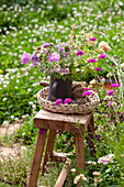 Strauß aus Sommerblumen auf Hocker im Garten