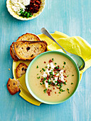 Spiced parsnip soup with chorizo