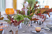 A festively laid table with autumnal decorations