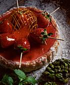 Strawberry cake with caramel lattice