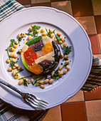 Vegetable terrine with beans and parsley