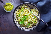Pasta with rocket pesto and pine nuts