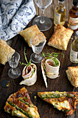 Mini Pies, asparagus frittata and tortilla rolls
