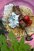 Lamb Skewers with flatbreads with dill yoghurt
